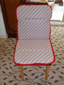 Grey and Red striped padded seat covers