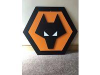 3D Wolves football crest plaque