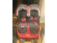 City Mini Baby Jogger Double Buggy & Carry Cot - Red