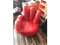Red leather hand chair