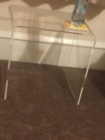 Clear acrylic side table. Brand new-in box