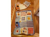 Boys cot quilt bumper and curtains