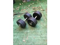 2x 40kg adjustable dumbbells commercial cast iron dumbells prostyle pro style weight weights plates