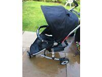 BabyStart Premium 3 Wheeler Pushchair Black compact buggy pram