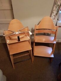 Pair of stokke tripp trapp highchairs with accessories