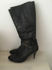 Next black leather knee high boots size 6.5