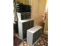 GREY FELLOWES LITERATURE ORGANIZERS (filing 'pigeon' holes) X 4