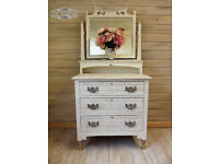 Vintage antique white pearecent dressing table