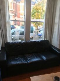 Black leather sofa, 3 seater, great condition
