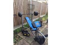 Weight bench gym and dumb bells