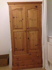 Solid Pine Wardrobe - Double Doors - Excellent Condition