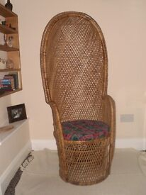 Wicker Rattan High Back Domed Porter's Chair - Vintage - She Shed - Conservatory