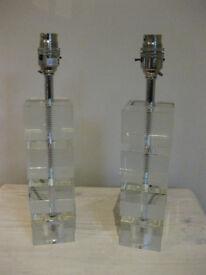 A Pair of John Lewis Blocked Glass lamp Bases