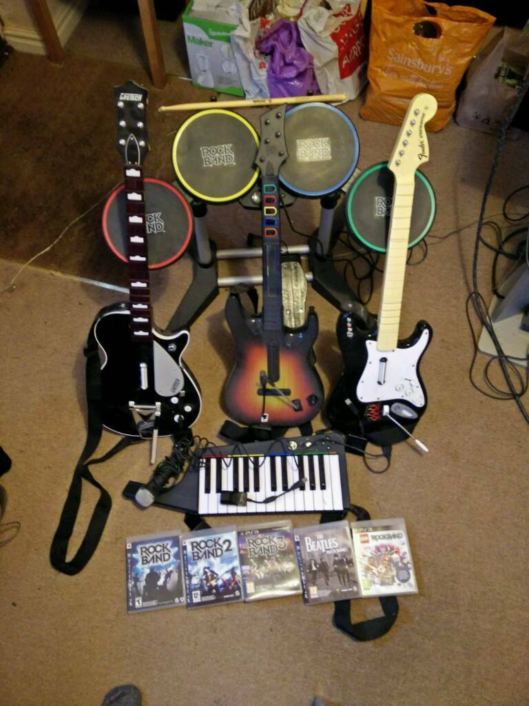 PS3 Rockband full kit and games (drums, guitars, keyboard, mic, Rockband 1,  2, 3, Beatles and Lego) | in Cambridge, Cambridgeshire | Gumtree