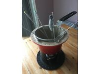 Vintage retro le creuset fondue set