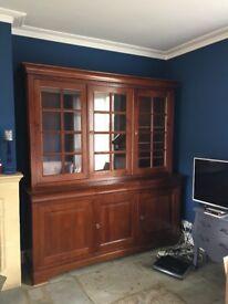 2 x Antique style mahogany finish dresser / cabinets