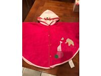 Designer hooded towelling cape, up to age 3 years from baby , ex cond