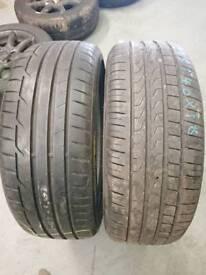 2 x 205/40R18 tyres 1 x Dunlop sport maxx RT and 1 x Pirelli P-zero