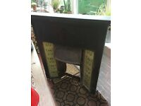 Antique Tiled Inset Cast Iron Fireplace
