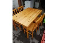 Pine dining table with chairs