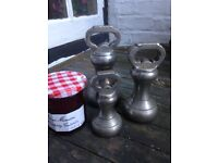 SET OF THREE ANTIQUE BELL SHAPED WEIGHTS