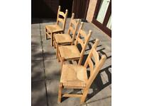 SET OF 4 CHUNKY SOLID PINE DINING CHAIRS