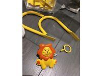 1.2m 2m Metal Childrens Yellow Orange Lion Extendable Curtain Pole Tieback