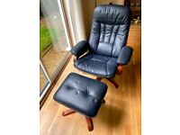 Swedish blue leather recliner arm chair and footstool