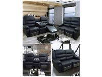 LUXURY JOANNE BONDED LEATHER RECLINER SOFA SUITES WITH DRINK HOLDERS !