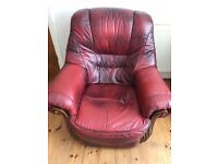 3 piece burgundy leather suite for sale
