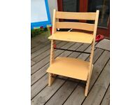 Stoke Trip Trap adjustable high chair beech wood