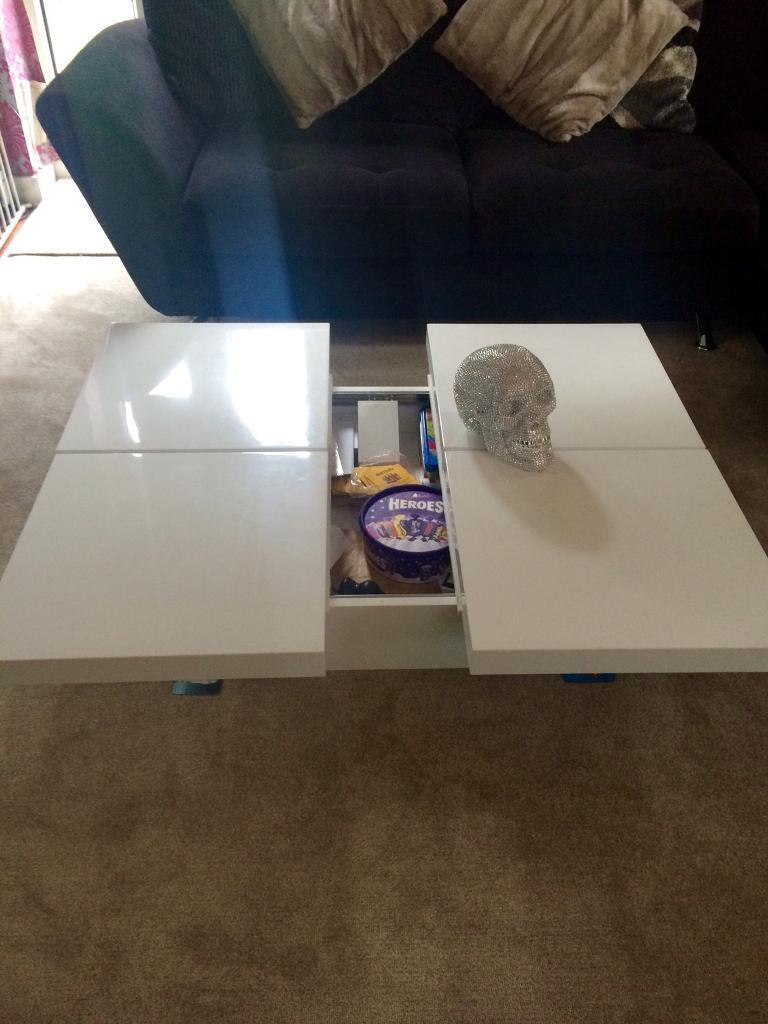Coffee Table White Gloss Dwell Slide Open