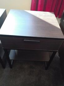 bed sides nightstands (2) Brown and black