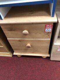 2 drawer bedside- wooden handles