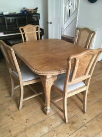 table and 4 chairs vintage bleached mahogany elegant