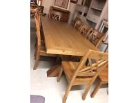 Large solid oak table and chairs new