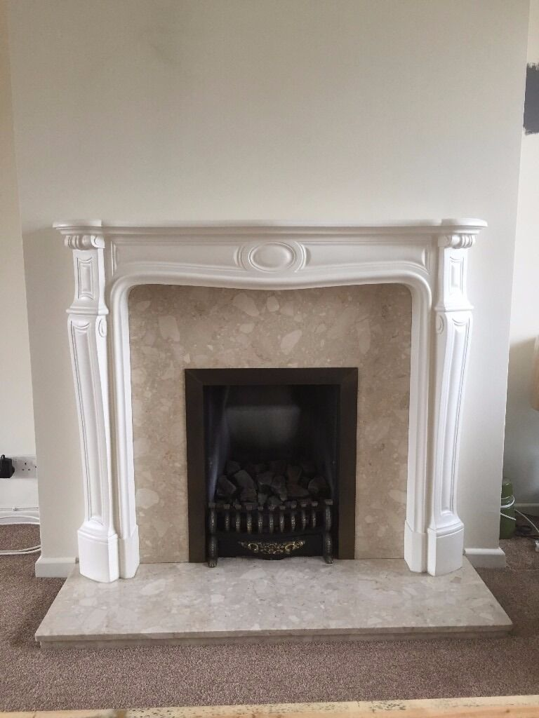 Fireplace Surround Marble Cream And White mantelpiece