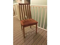 One Teak Dining Room Chair - Brown Seat - ideal for an extra chair at Christmas
