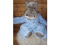 Original Large (23 inches, 60 cm high) SilentNight Hippo Soft Plush Toy In Striped Pyjamas