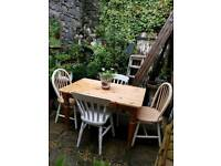Rustic Solid Pine Kitchen Table & 4 Painted Chairs