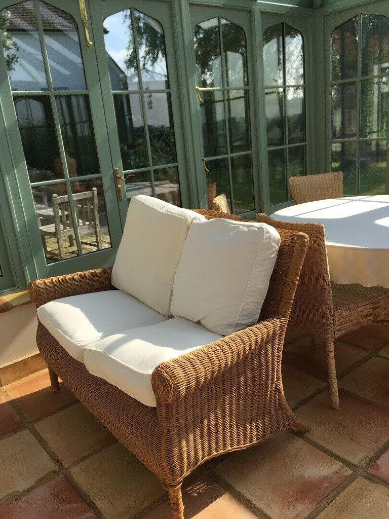 Wicker two seater sofas and two armchairs. Real wicker not ...