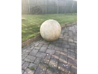 Extra large solid granite ball with bore hole - water feature