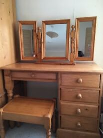 pine bedroom dressing table , stool and triple mirror