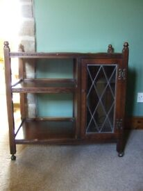 Reproduction oak drinks trolley