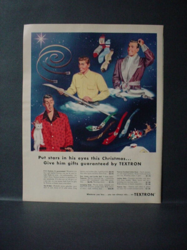 1952 Textron Fashion Men Skiing Ski Skier Vintage Print Ad 11549