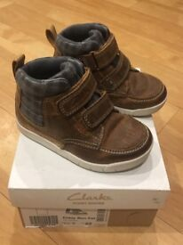 Boys Brown Learher Boots From Clark's Size 5 1/2F