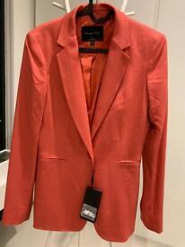 NEW Massimo Dutti orange formal suit jacket UK 4 with original label
