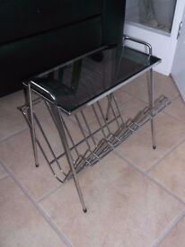 VINTAGE CHROME AND SMOKED GREY GLASS SIDE TABLE / MAGAZINE RACK