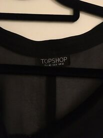 Black Sheer Shirt from Topshop - Size 12 - Good condition