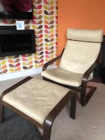 Ikea Poäng Chair and foot stool cream leather dark wood frame